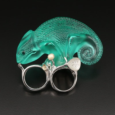 Lalique Sterling Crystal Chameleon Two Finger Ring with Box