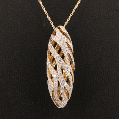 14K 3.00 CTW Diamond Pendant with Openwork and 14K Chain Necklace