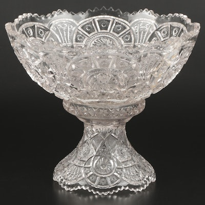 EAPG Imperial Glass Broken Arches Punch Bowl and Stand, Early 20th Century