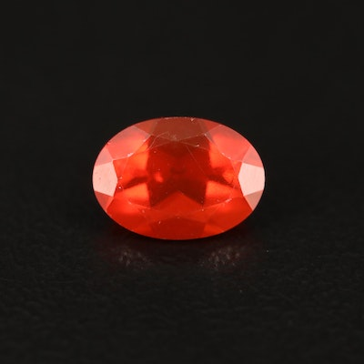 Loose 0.57 CT Oval Faceted Fire Opal