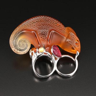 Lalique Sterling Silver Crystal Chameleon Ring