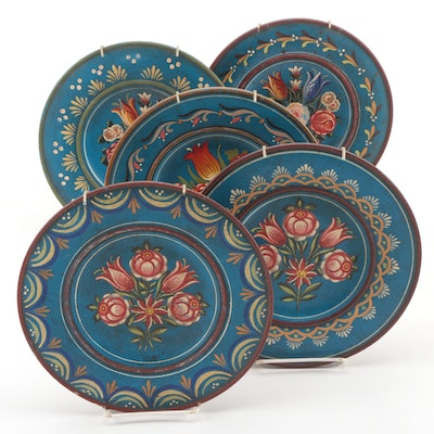 Scandinavian Folk Art Hand Painted Wooden Wall Décor Plates