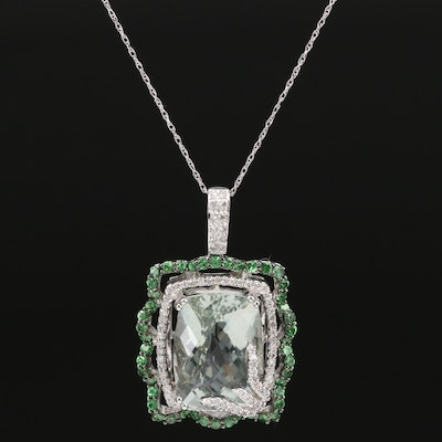 18K Prasiolite, Diamond and Diopside Pendant Necklace