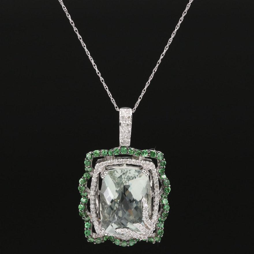 18K Prasiolite, Diamond and Diopside Pendant Necklace