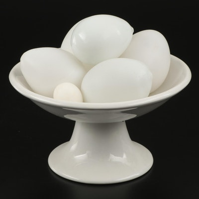 Ceramic Compote Bowl with Stone and Hand Blown Glass Eggs