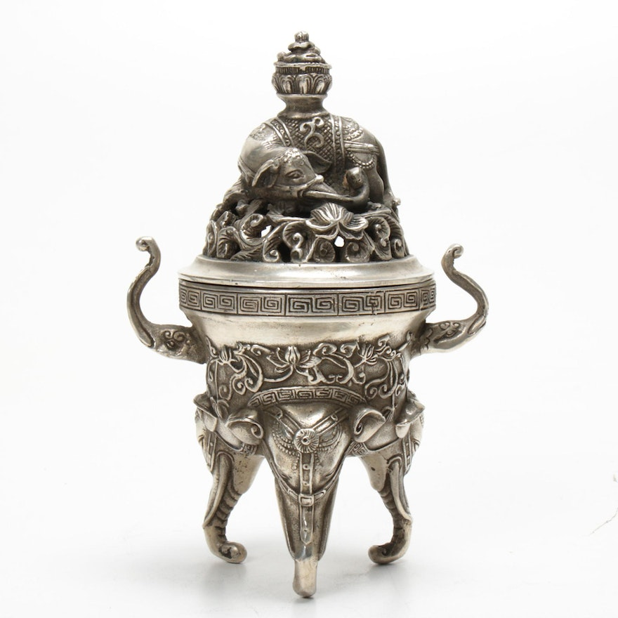 Chinese Metal Censer with Elephant Motif, 20th Century