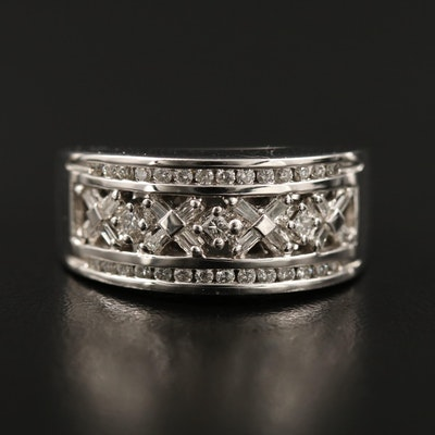 14K Diamond Ring with Channel Trim