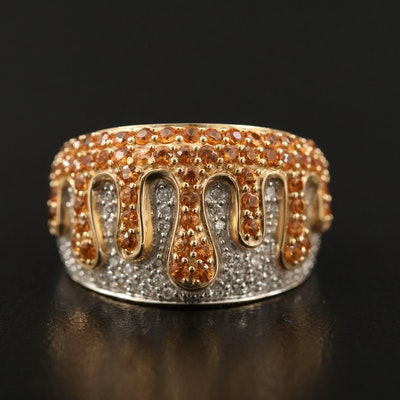 14K Citrine and Diamond Tapered Band Featuring Undulating Pattern