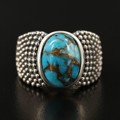 Michael Dawkins Sterling Turquoise Ring with Granulated Shoulders