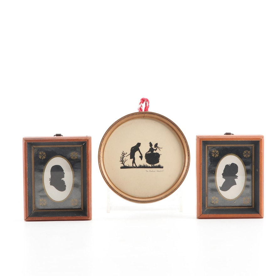 George and Martha Washington and Courting Couple Silhouettes