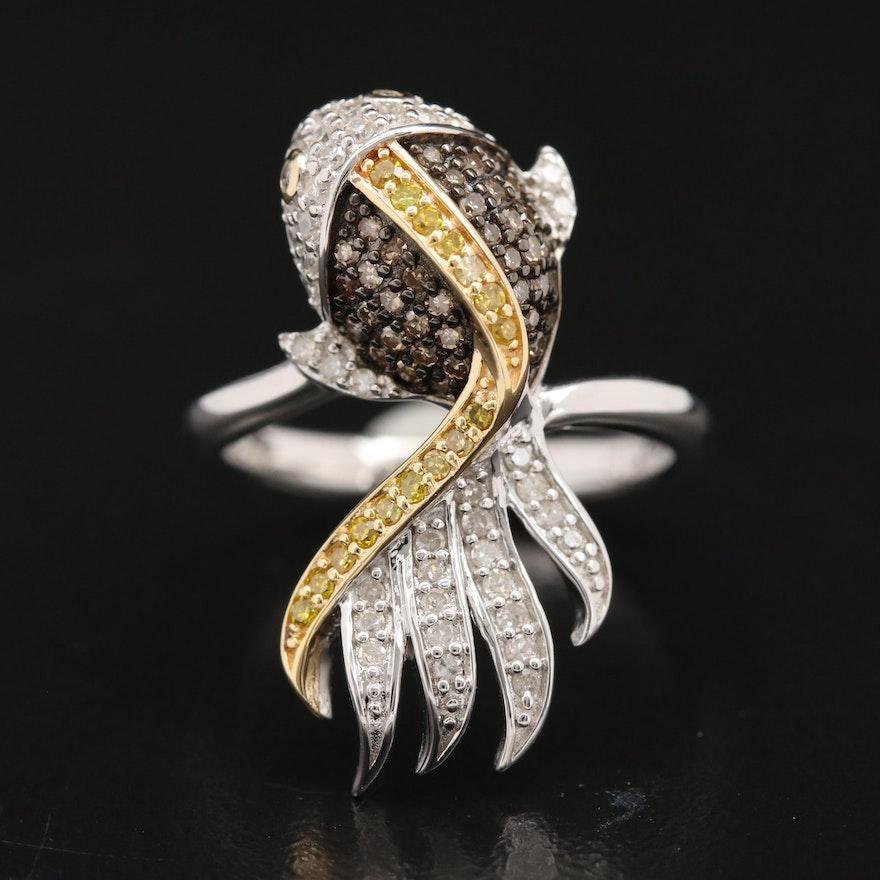 Sterling Silver Diamond Fish Ring