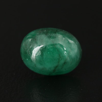 Loose 3.66 CT Oval Cabochon Emerald
