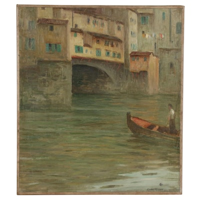 Eliot Candee Clark Oil Painting Italian Canal Scene, Early 20th Century