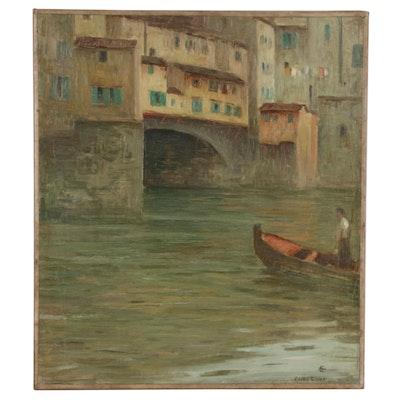 Eliot Candee Clark Oil Painting Italian Canal Scene, Early 20th Century