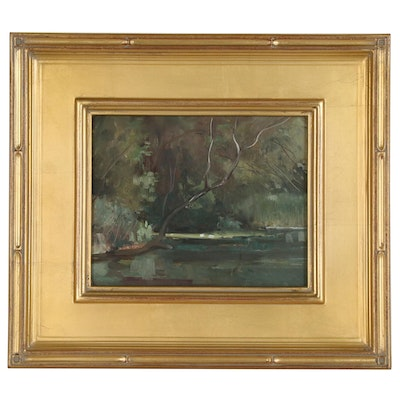 Harry Lang Barton Forest Landscape Oil Painting, Mid to Late 20th Century