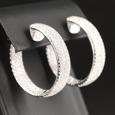 18K 11.55 CTW Diamond Inside-Out Hoop Earrings with Heart Motif