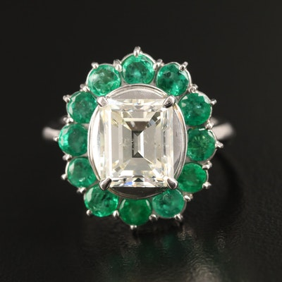Platinum 3.04 CT Diamond and Emerald Ring