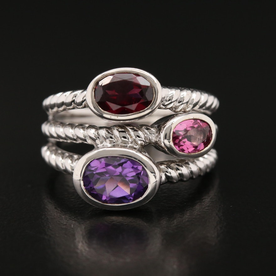 Sterling Amethyst, Garnet and Topaz Twisted Rope Detail Ring