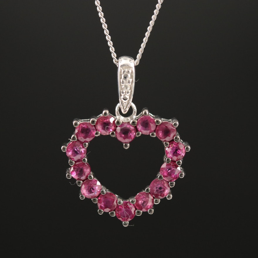 Sterling Silver Ruby Heart Pendant Necklace with Diamond Accent