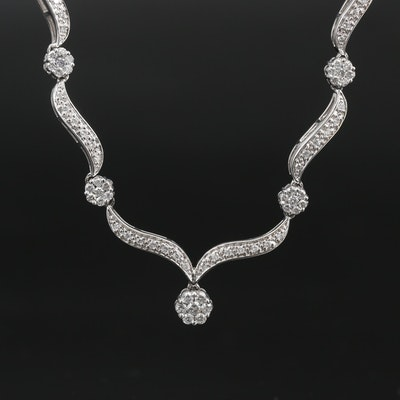 14K 2.20 CTW Diamond Curved Link Necklace