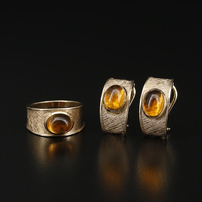 10K Citrine Ring and Earrings