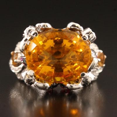 18K Citrine, 1.17 CTW Diamond, Ruby and Aquamarine Ring