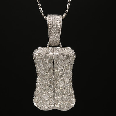 14K 1.26 CTW Diamond Cluster Enhancer Pendant Necklace