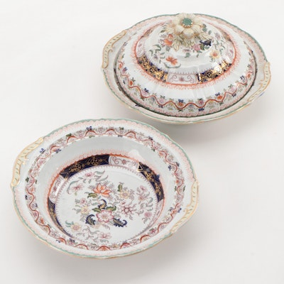 Mason's Chinoiserie Hand-Colored Transferware Ironstone Covered Vegetable Dishes