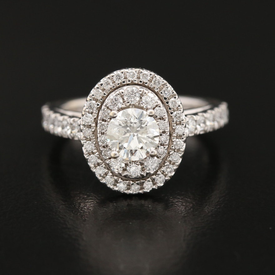 14K 1.54 CTW Diamond Double Halo Ring