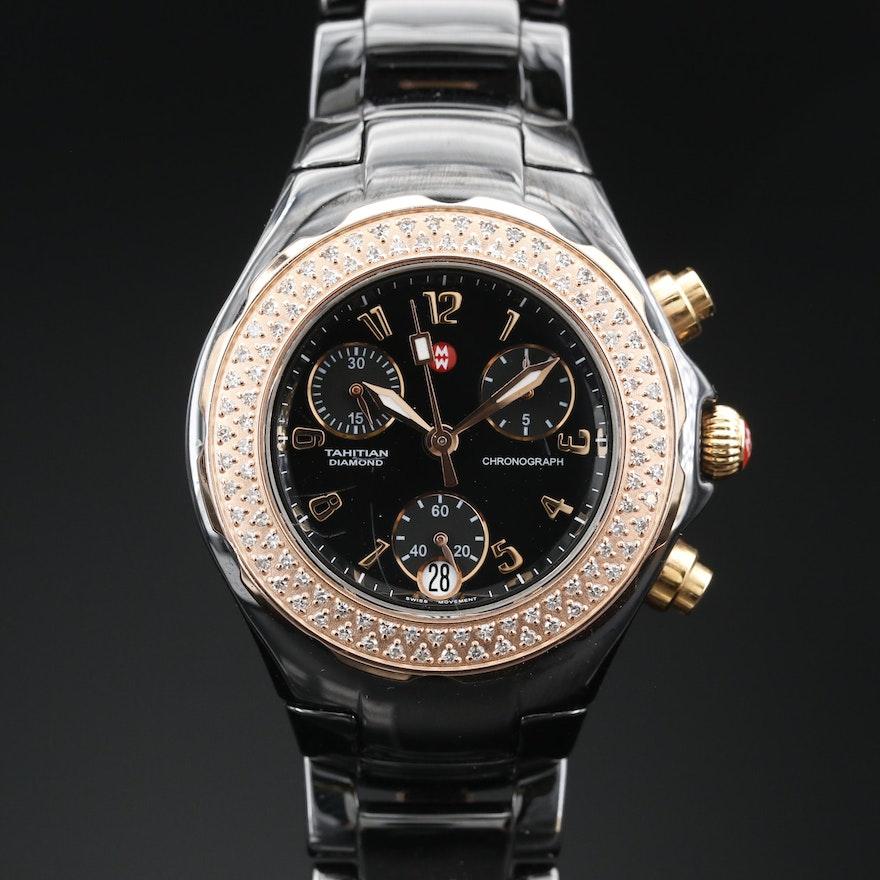 Michele Tahitian Chronograph Diamond and Ceramic Rose Gold Tone Wristwatch