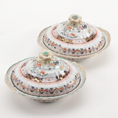 Pair of Mason's Chinoiserie Hand-Colored Transferware Covered Vegetable Dishes