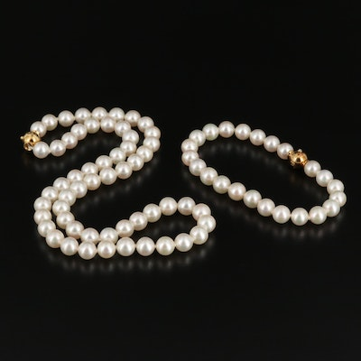 Mikimoto Pearl Necklace and Bracelet Enhancer with Diamond Accent and 18K Clasps
