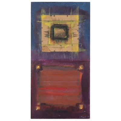 Jerome D'Angelo Mixed Media Painting of Geometric Abstract Composition, 2002