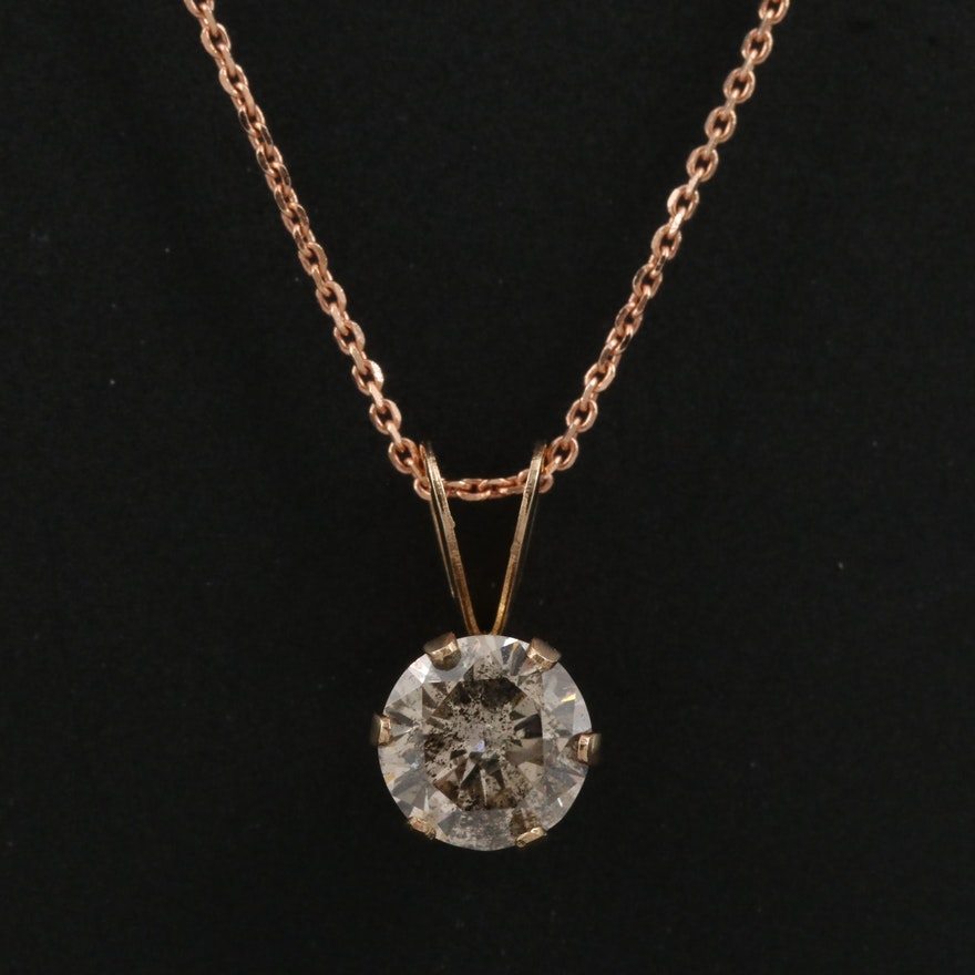 14K 0.50 CT Diamond Necklace Featuring Rose Gold Chain