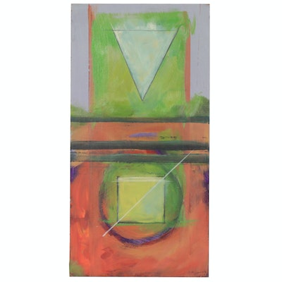 Jerome D'Angelo Geometric Abstract Acrylic Painting, 2002