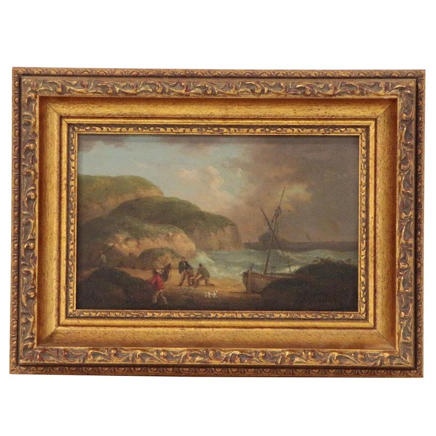 Norwich School Style Coastal Landscape Oil Painting, 19th Century