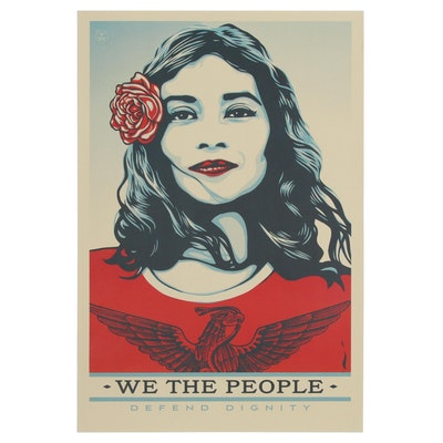 "Offset Print Poster after Shepard Fairey ""We the People: Defend Dignity"""