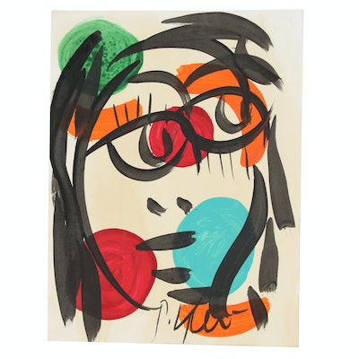 Peter Keil Abstract Portrait Ink Painting