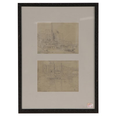 """Eliot Candee Clark Graphite Drawings """"Views of New York"""", Mid 20th Century"""