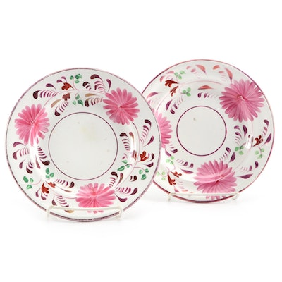 Hand-Painted Floral Salad Plates with Metallic Pink Accents