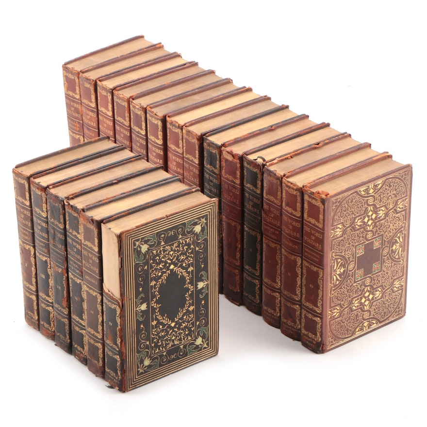 """Leather Bound """"The Works of Voltaire"""" Twenty-Volume Partial Set, 1901"""