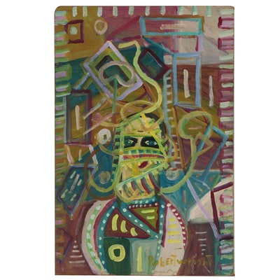 Robert Wright Abstract Folk Art Portrait Acrylic Painting
