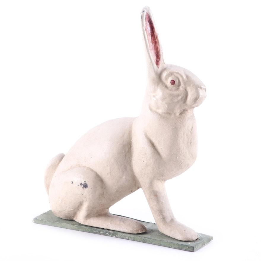 Cast Iron White Rabbit Doorstop