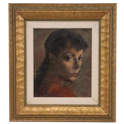 "Robert Philipp Portrait Oil Painting ""Final Stretch"", Circa 1945"