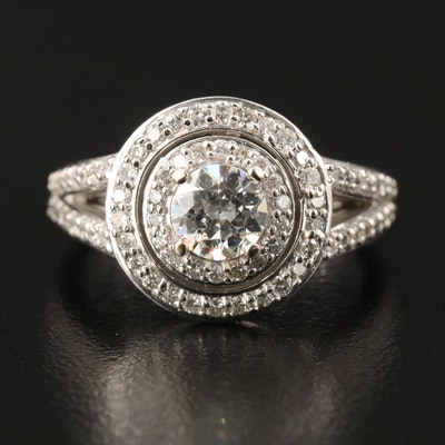 14K 1.30 CTW Diamond Ring with Double Halo and Split Shoulders