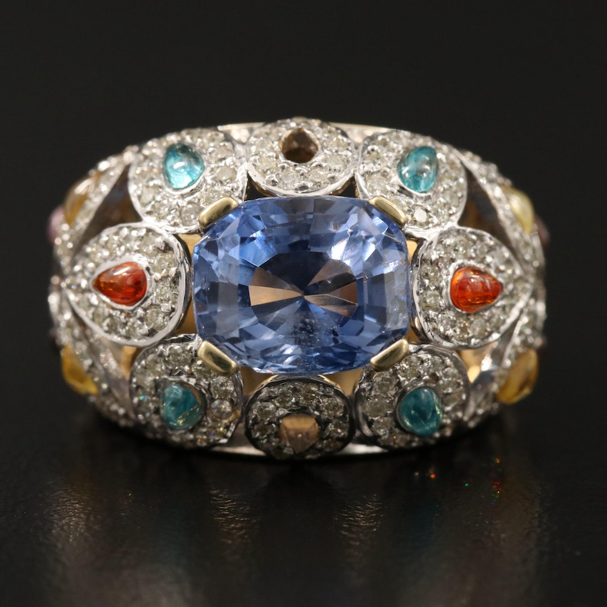 18K 4.95 CT Sapphire and 1.25 CTW Diamond Dome Ring