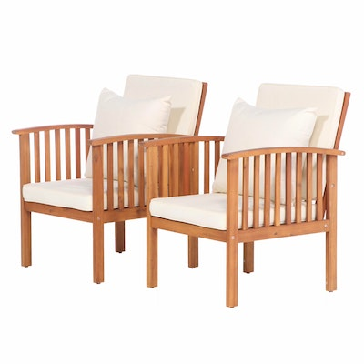 Pair of Noble House Home Furnishings Acacia Patio Armchairs