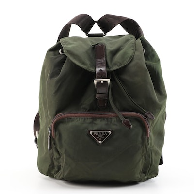 Prada Green Nylon and Brown Leather Backpack Purse