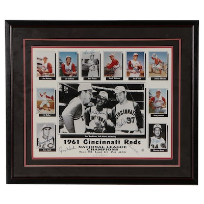 1961 Cincinnati Reds Players Signed Framed Photo Print