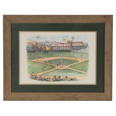 "Signed Floyd Berg Limited Edition Framed Offset Lithograph ""Crosley Field"""